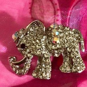 Pretty Crystal Elephant Brooch